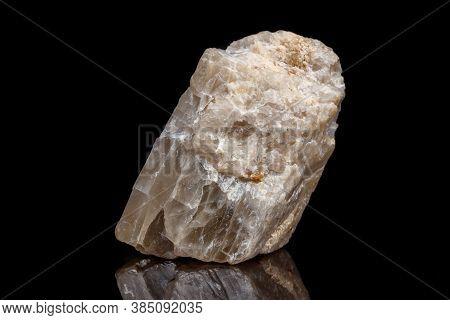 Macro Mineral Stone Moonstone A Black Background