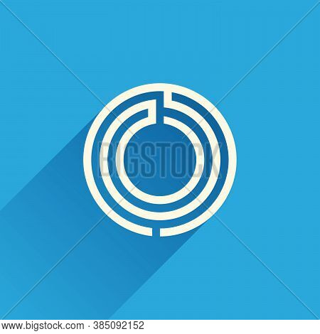 Maze O Letter Logo Made Of Three Parallel Lines. Flat Vector Design Can Be Used For Jigsaw Ads, Righ