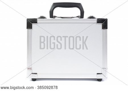 Metal Suitcase Isolated On Bhite Background. A Safe Place To Store Personal Items While Traveling. S