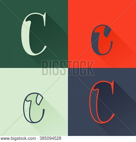 Classic C Letter Logo Set In Renaissance Style. Four Style Condensed Serif Font. Perfect To Use In A