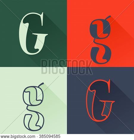 Classic G Letter Logo Set In Renaissance Style. Four Style Condensed Serif Font. Perfect To Use In A