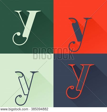 Classic Y Letter Logo Set In Renaissance Style. Four Style Condensed Serif Font. Perfect To Use In A