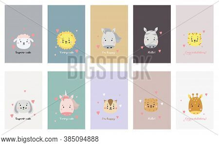 Set Of Cute Animal Faces. Creative Animal Print Cheetah And Lion, Tiger And Sheep, Horse And Unicorn