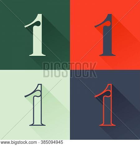 Classic Number One Logo Set In Renaissance Style. Four Style Condensed Serif Font. Perfect To Use In