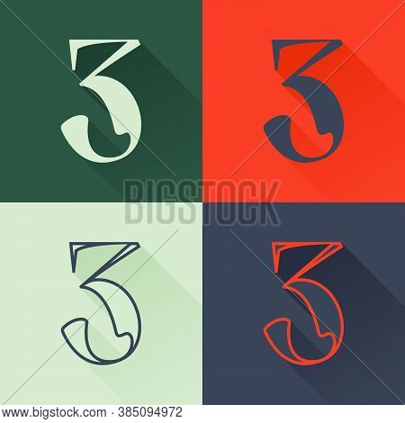 Classic Number Three Logo Set In Renaissance Style. Four Style Condensed Serif Font. Perfect To Use