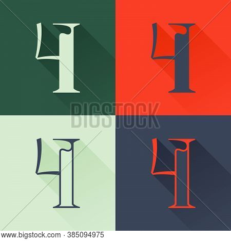 Classic Number Four Logo Set In Renaissance Style. Four Style Condensed Serif Font. Perfect To Use I