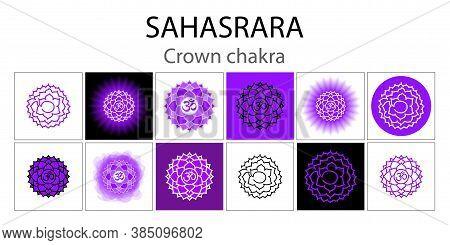 Sahasrara Icon Set. The Seventh Crown, Parietal Chakra. Vector Purple Gloss And Shine. One Line Symb
