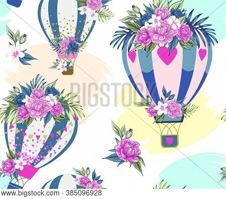 Bouquet Vector Beautiful Aerostat Tender Pink And Blue Flowers Illustration Blooming Floral Peonies