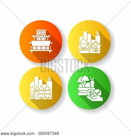 Urban Agriculture Production Flat Design Long Shadow Glyph Icons Set. City Forest. Public Park. Affo