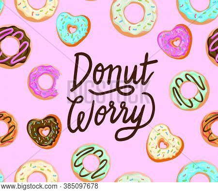 Glazed Donuts Seamless Pattern Set. Bakery Vector. Top View Doughnuts Into Glaze. Food Background Co