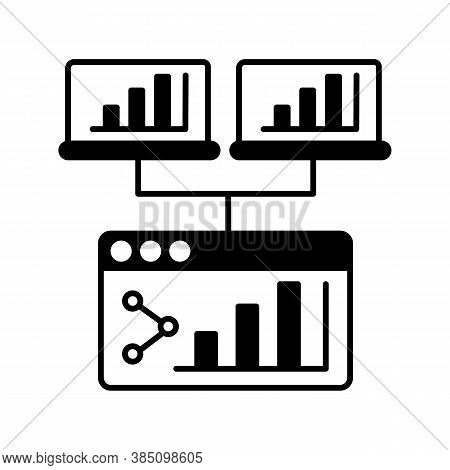 Webcast Black Linear Icon. Share Online Presentation. Screen With Data Analytics. Information Diagra
