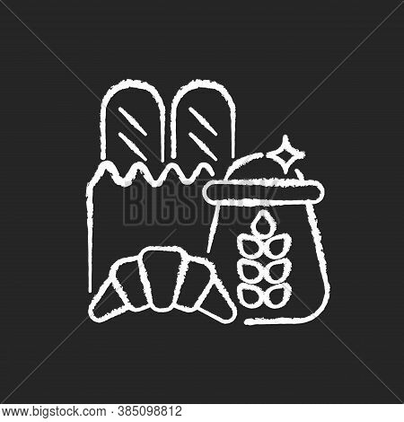 Carbohydrate Chalk White Icon On Black Background. Wheat Ingredient In Foodstuff. Nutritious Load. C