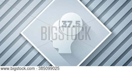 Paper Cut High Human Body Temperature Or Get Fever Icon Isolated On Grey Background. Disease, Cold,