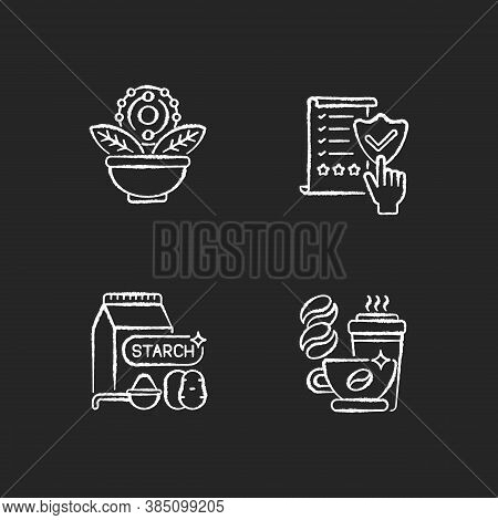 Diet Chalk White Icons Set On Black Background. Regulatory Compliance. Caffeine In Drinks. Starch In