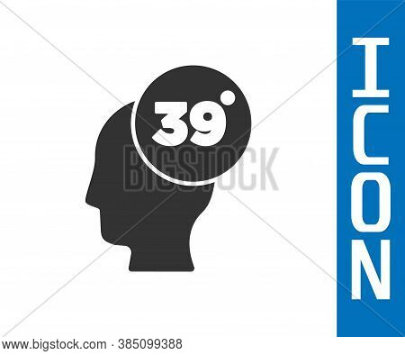Grey High Human Body Temperature Or Get Fever Icon Isolated On White Background. Disease, Cold, Flu
