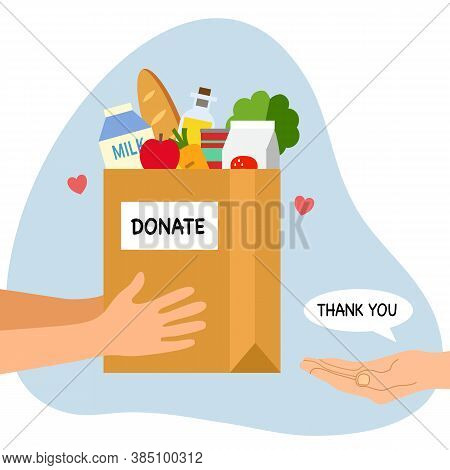 Sharing Food To People. Foos Donation Concept. Man Hand Holding Box Full Of Food In Flat Design Vect