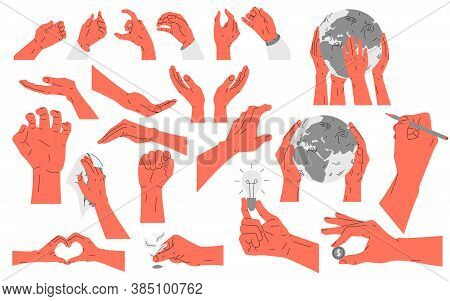 Set Of Hand Icons. Vector Illustration With A Set Of 20 Icons Of Human Hands, Arms Showing Different