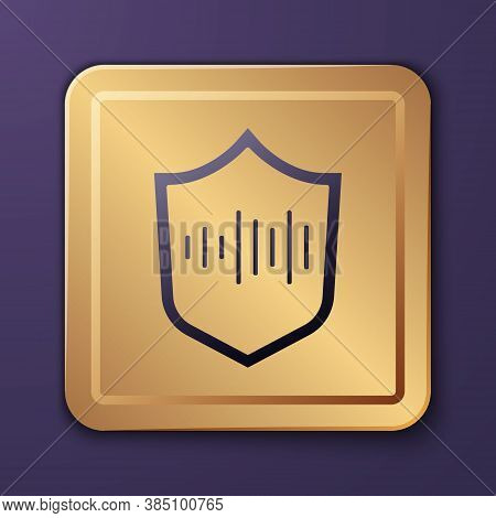 Purple Shield Voice Recognition Icon Isolated On Purple Background. Voice Biometric Access Authentic