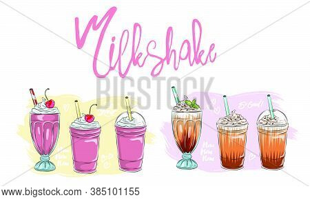 Set Of Different Milkshakes. Chocolate, Cherry, Strawberry, Vanilla And Orange Milkshakes. Cartoon V