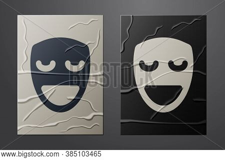 White Comedy Theatrical Mask Icon Isolated On Crumpled Paper Background. Paper Art Style. Vector