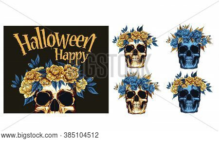 Metal Skull With  Floral Golden Roses Wreath, Vector Illustration Of Day Of The Dead Dia De Muertos