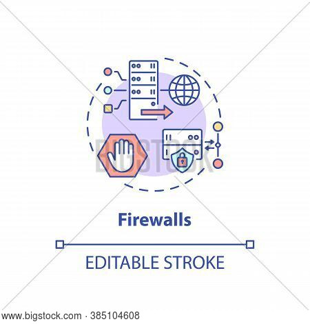 Firewalls Concept Icon. Unauthorized Access Prevention Idea Thin Line Illustration. Traffic Flows Co