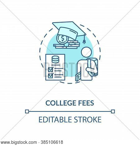 College Fees Concept Icon. Smart Money Options. Cash Saving Idea. Financial Literacy Application Ide