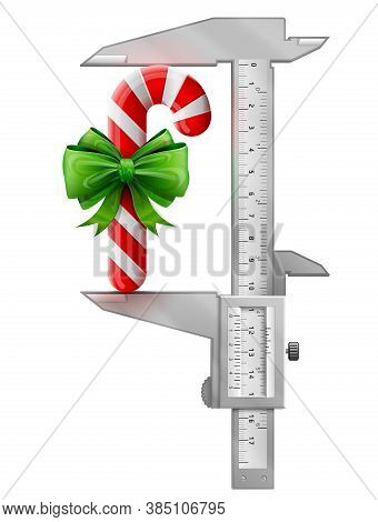 Vertical Caliper Measures Candy Cane With Bow. Concept Of Measuring Size Of Holiday Candy Stick Deco