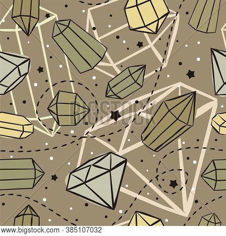 Seamless Vector Pattern With Crystals And Stars. Hand-drawn Gemstones, Diamonds, Diamonds, Emeralds