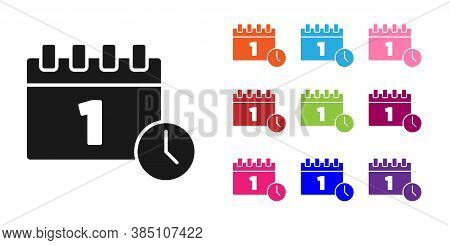 Black Calendar With First September Date Icon Isolated On White Background. September 1. Date And Ti