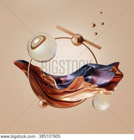 3d Abstract Metalic Gold And Violet Cloth Flying On Beige Background. Iridescent Holographic Foil. G