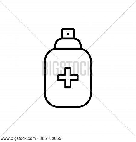 Antiseptic Spray Line Icon. Antiseptic Linear Bottle Vector Icon Illustration Isolated On White Back