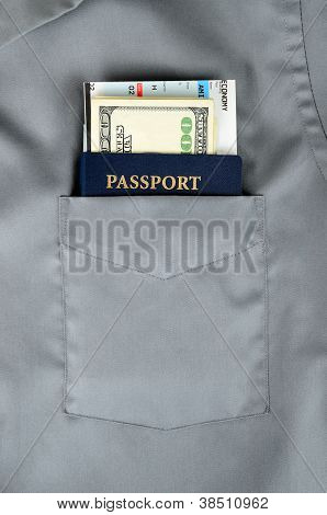 Pasport And Boarding Pass In A Pocket