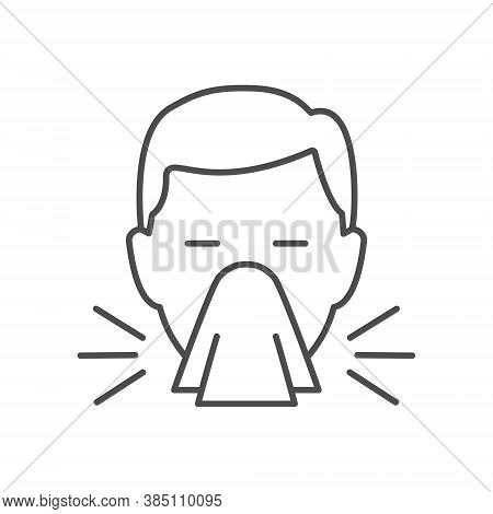 Sneeze Line Icon. Runny Nose Linear Symbol. Flu Infection And Allergy Symptom Sign. Sneezing Man Hea
