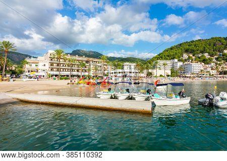 Mallorca, Spain - September 2018: Port Soller Beach On A Sunny Day