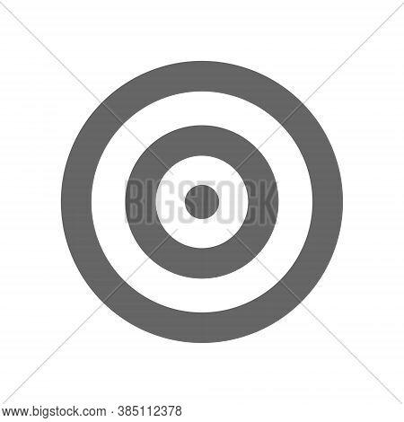 Target Icon. Flat Black Aim Symbol Vector Illustration Isolated On White