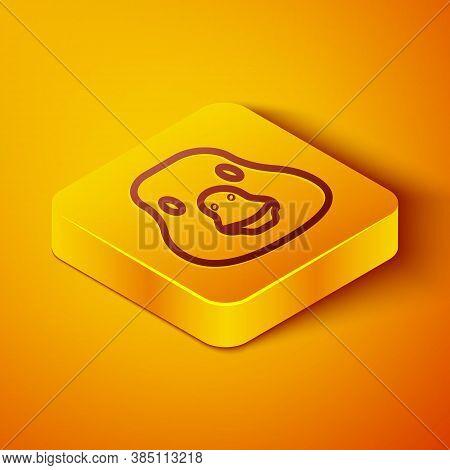 Isometric Line Goose Bird Icon Isolated On Orange Background. Animal Symbol. Yellow Square Button. V
