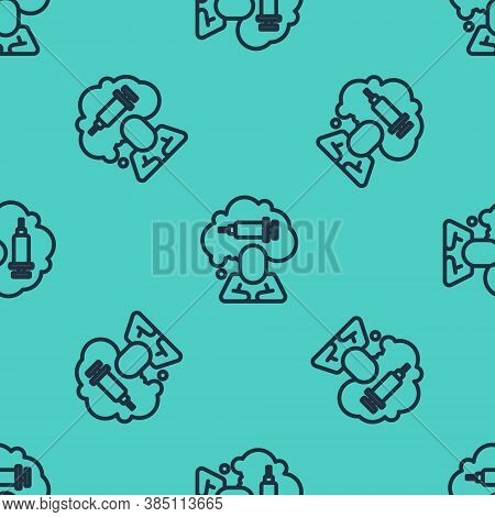 Black Line Addiction To The Drug Icon Isolated Seamless Pattern On Green Background. Heroin, Narcoti