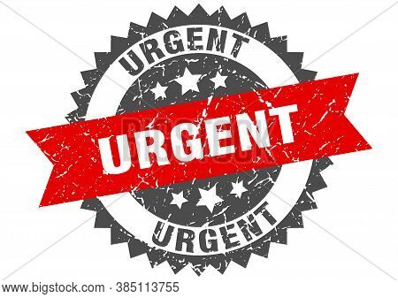 Urgent Grunge Stamp With Red Band. Urgent