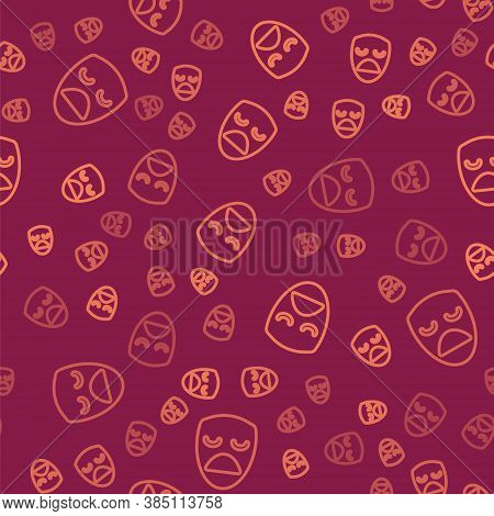 Brown Line Drama Theatrical Mask Icon Isolated Seamless Pattern On Red Background. Vector