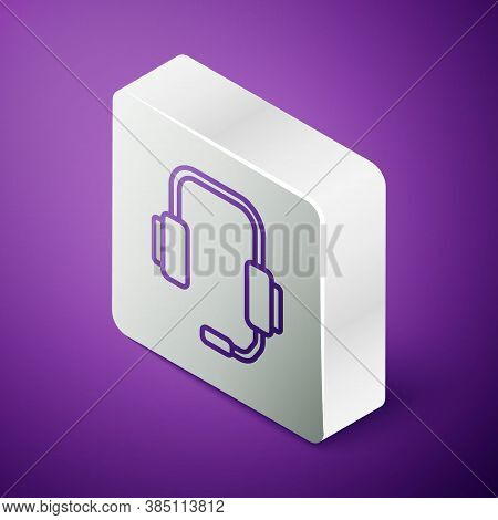 Isometric Line Online Psychological Counseling Distance Icon Isolated On Purple Background. Psychoth