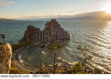 Lake Baikal. Panoramic View Of A Beautiful Sunset On Olkhon Island During A Storm. Surf In The Bay N