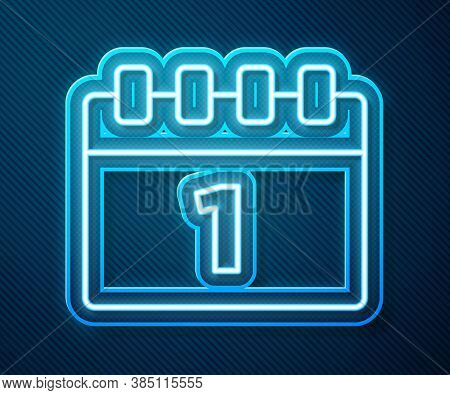 Glowing Neon Line Calendar With First September Date Icon Isolated On Blue Background. September 1.