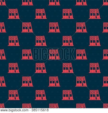 Red Line Office Folders With Papers And Documents Icon Isolated Seamless Pattern On Black Background