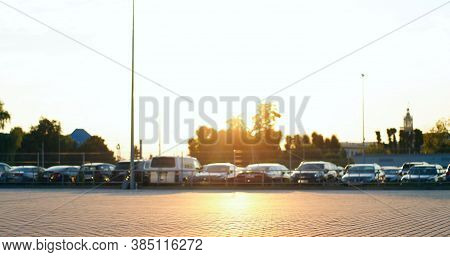 Parking Lot Blurred. Lots Of Cars Parking At Airport Carpark