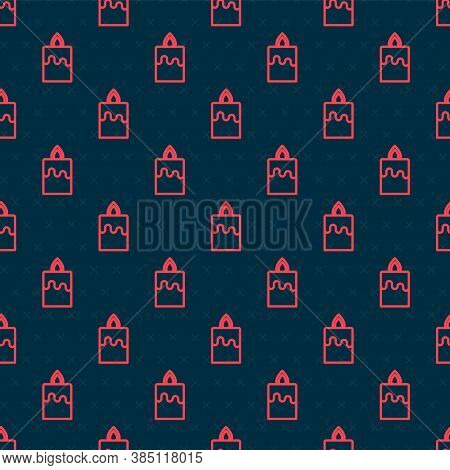 Red Line Burning Candle Icon Isolated Seamless Pattern On Black Background. Cylindrical Aromatic Can