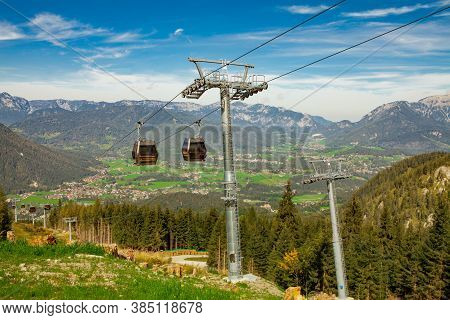 Idyllic Landscape And Cable Railway In The Alps, Nationalpark Berchtesgadener Land, Bavaria, Germany