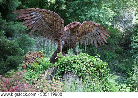Meran, Italy - May 15,2016: Eagle Statue On The Woodland Sissi Walk In Meran Or Merano / Italy