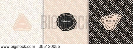 Vector Geometric Seamless Pattern Collection With Stylish Minimal Labels. Elegant Texture With Diago