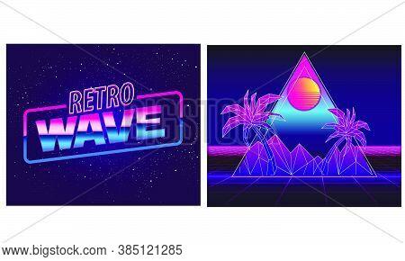 Retro Future, Slogan Give Me Back 80's, Futuristic Landscape, Mountains. Sci-fi Background. 80S Part